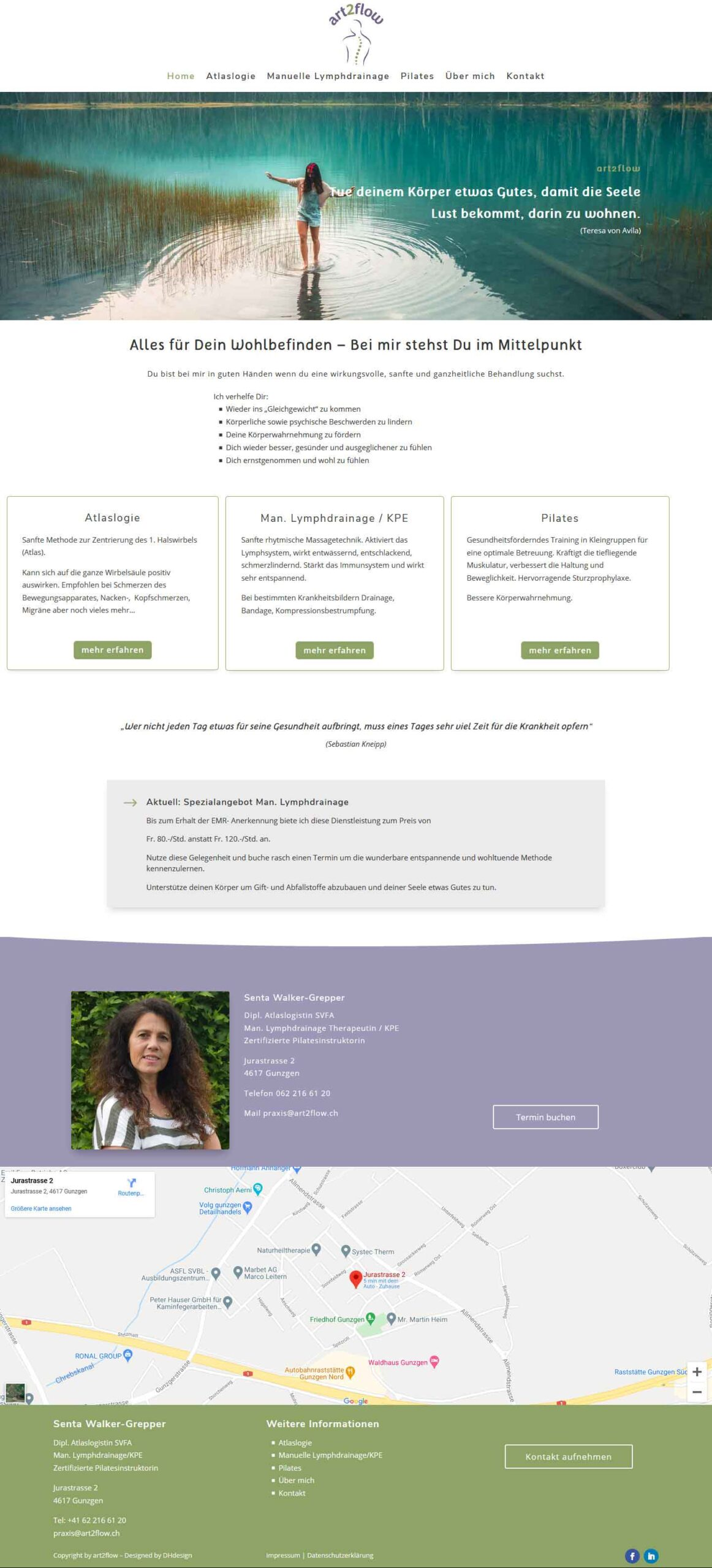 Webseite art2flow von DHdesign erstellt